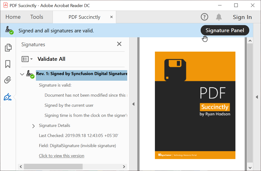 Digitally signed PDF document—Syncfusion PDF Library.