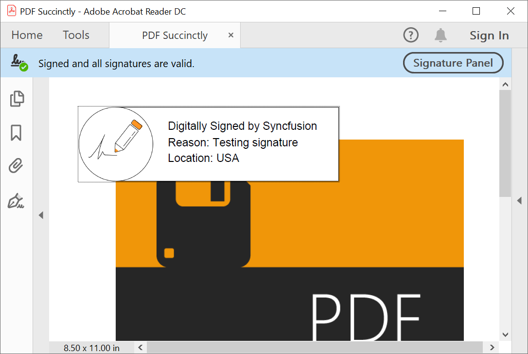 PDF digital signature with appearance customized —Syncfusion PDF Library.
