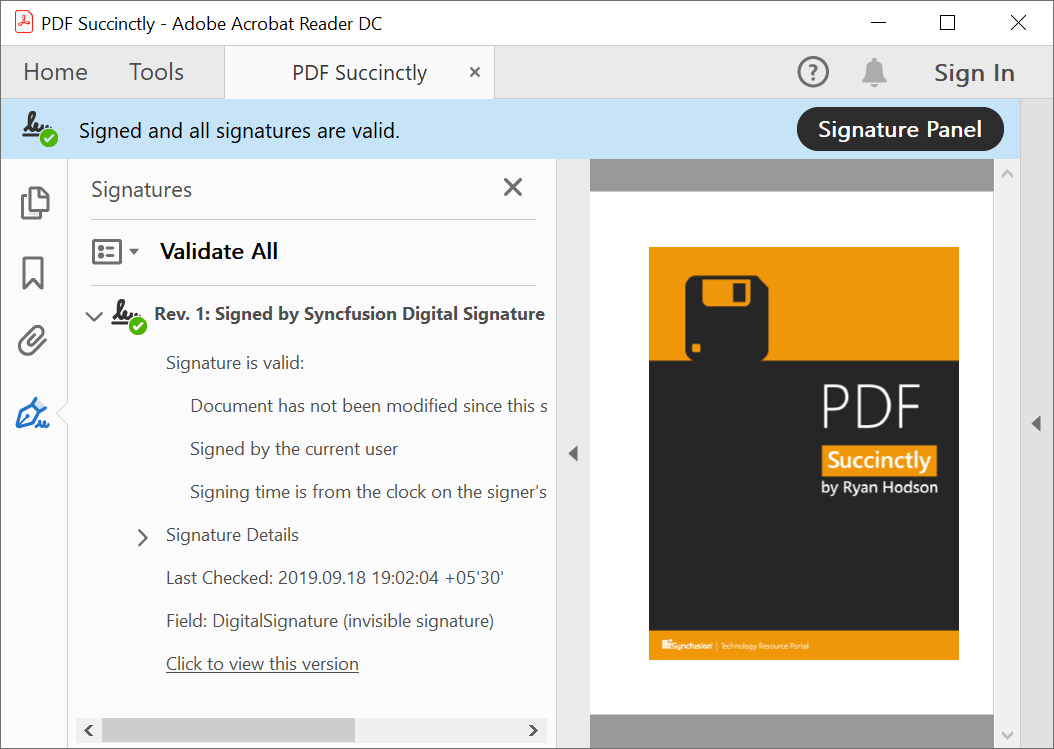 PDF document digitally signed using Windows certificate store.
