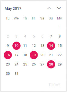 Setting Tuesday as the first day of the week in Essential JS 2 Calendar