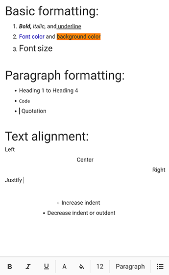 Text formatting in Xamarin Rich text editor