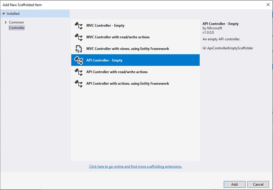 Adding an API Controller.