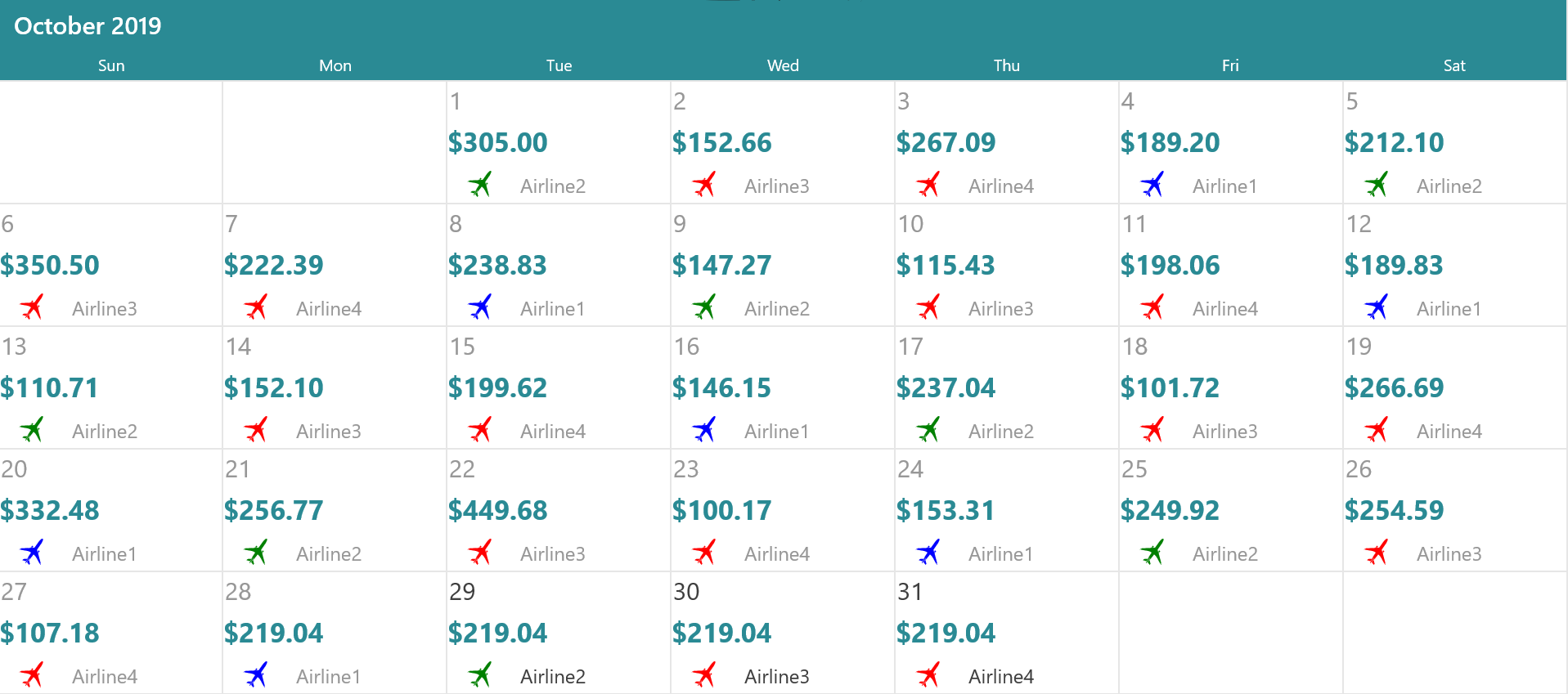 Airfare calendar shows the fares among the listed airlines.
