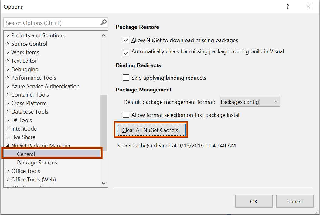Clearing All NuGet Caches Automatically.