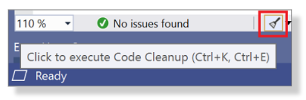 Code Cleanup Button.