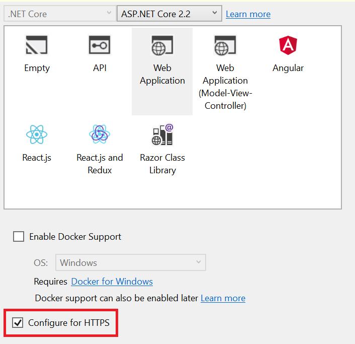 Configuring an ASP.NET Core Web App for HTTPS.