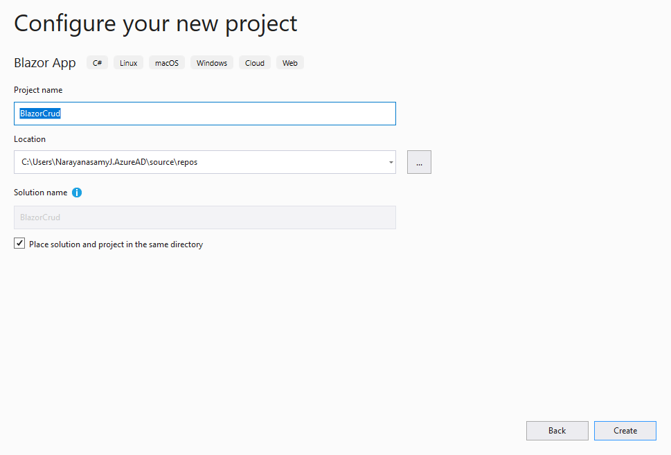 Configuring the New Project in Visual Studio.