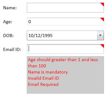 Customizing error template to show errors.