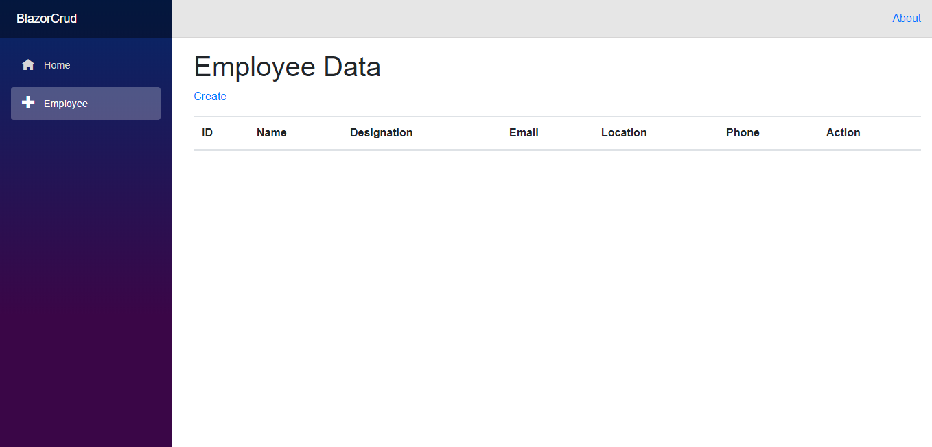 Empty Employee Page.