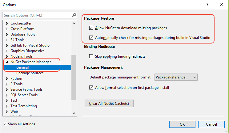 Enabling Restore NuGet Packages.