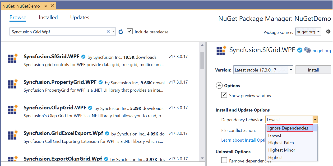 Installing NuGet Packages Without Dependencies.