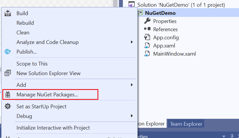 Managing NuGet Packages in a Project with Nuget Package manager.