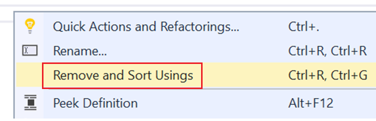 Remove and Sort Usings Context Menu Option.