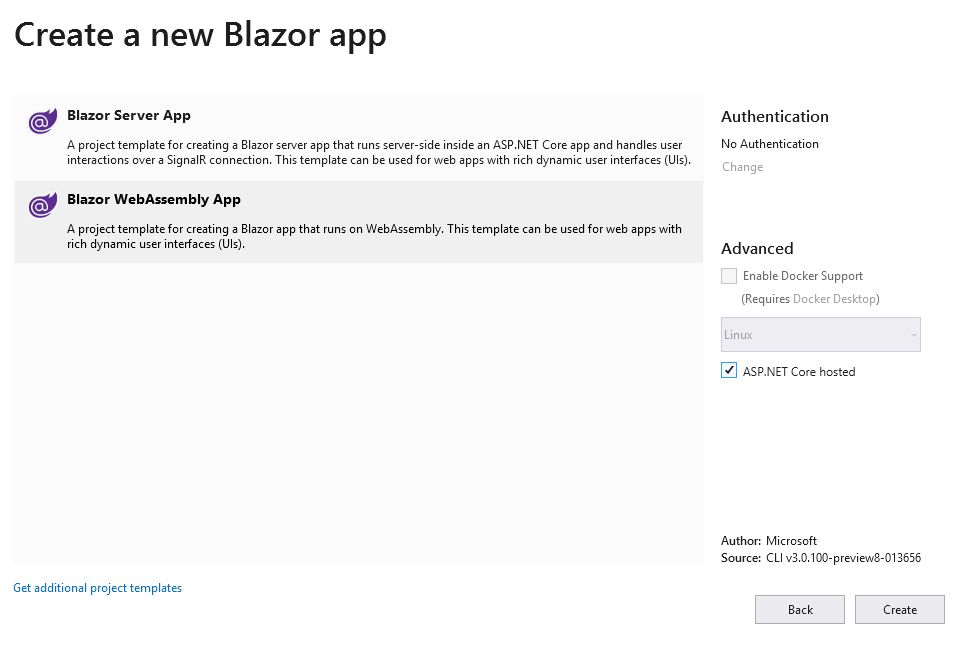 Selecting a Blazor WebAssembly App.