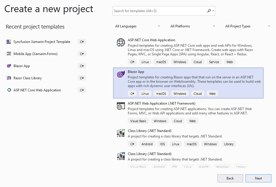 Selecting a Project Template in Visual Studio.
