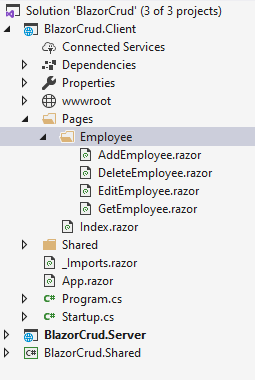 Selecting the Folder to Add a Razor View.