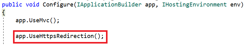 Setting HTTPS Redirection in Code.