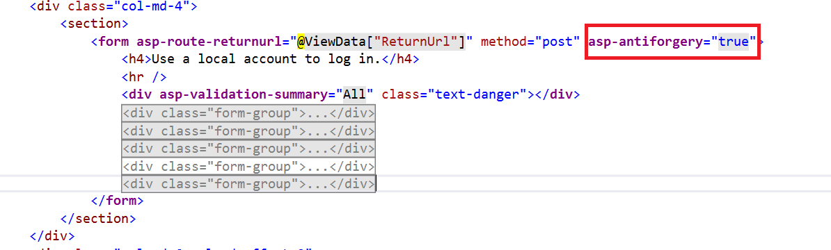 Setting the asp-antiforgery Tag Helper to True.