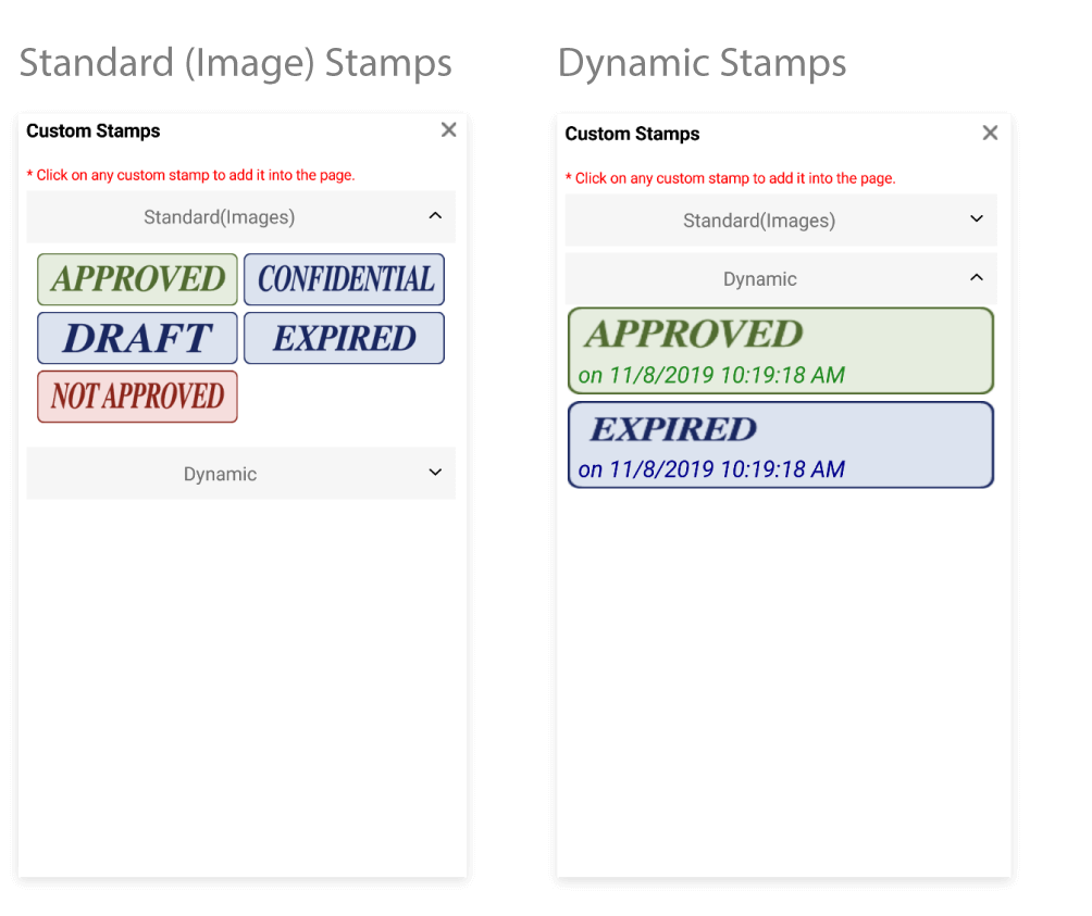 Standard stamps and Dynamic stamps.