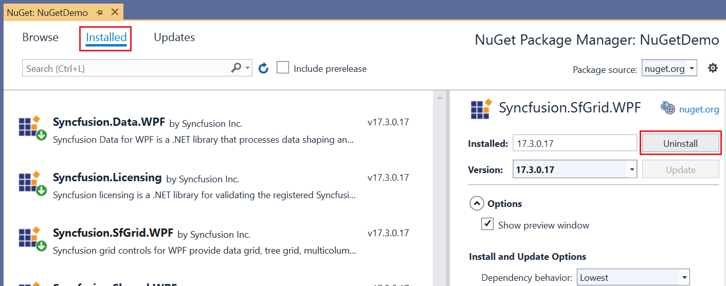 Uninstalling a NuGet Package.