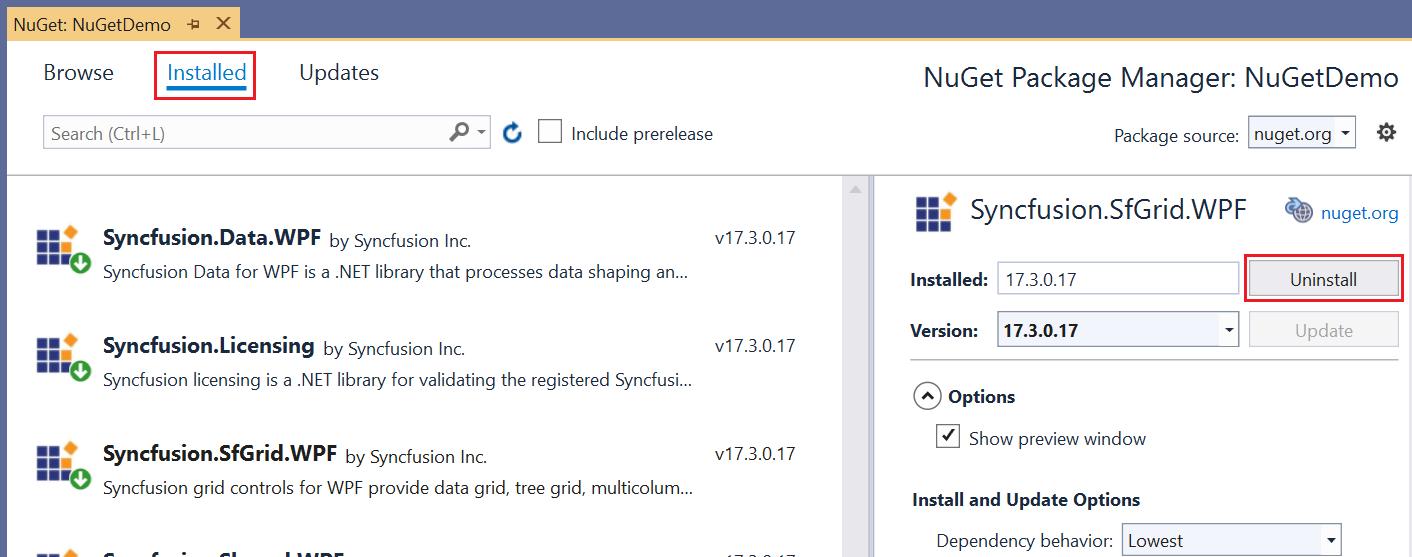 Uninstalling a NuGet Package.