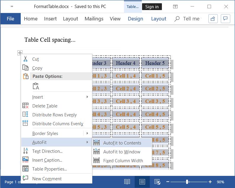 Autofit table content