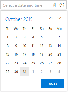 Calendar with Tuesday as the First Day of the Week.