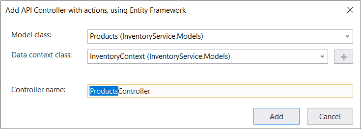 Choosing the Products model class and InventoryContext context class and naming the control ProductsController.