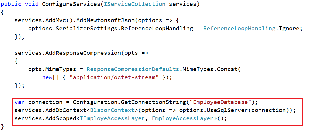 Connection string is read from the appsetting file and passed to the context service