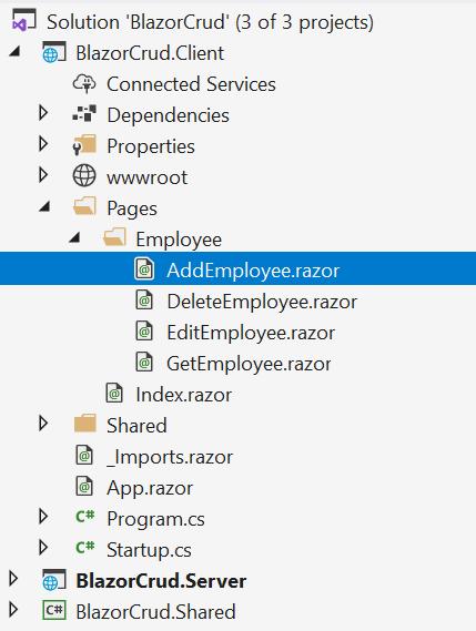 Create Add, Edit and DeleteEmployee Razor files