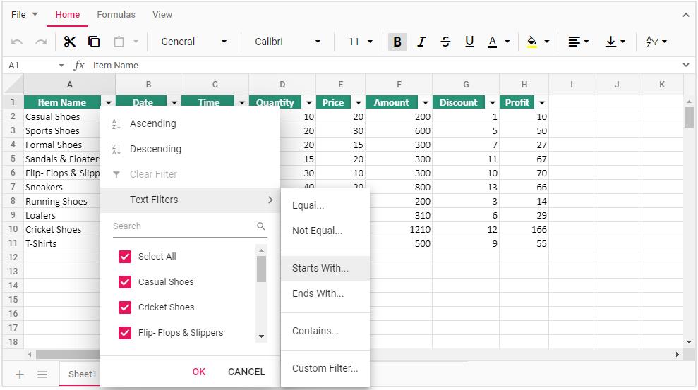 Filtering in Spreadsheet.