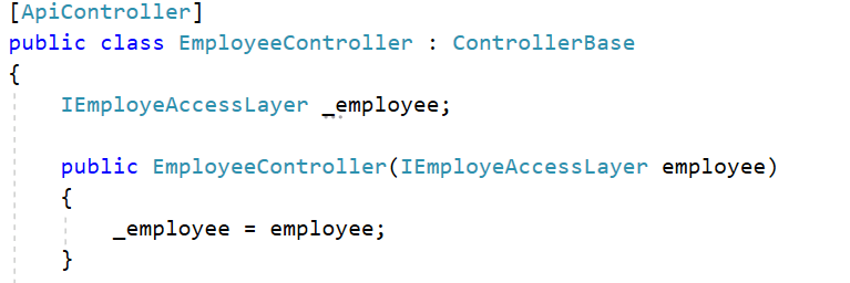 Inject IEmployeeAccessLayer with the employee controller's constructor
