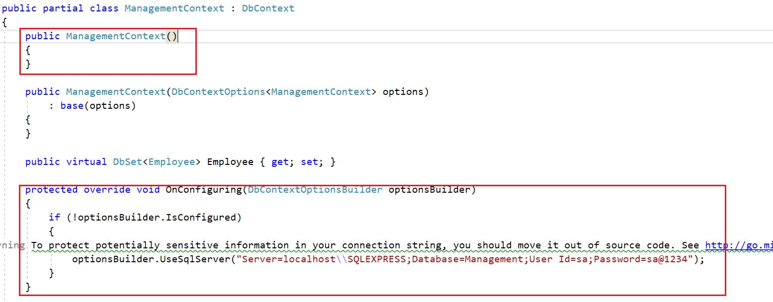Remove the OnConfiguring method and parameterless constructor from context file.