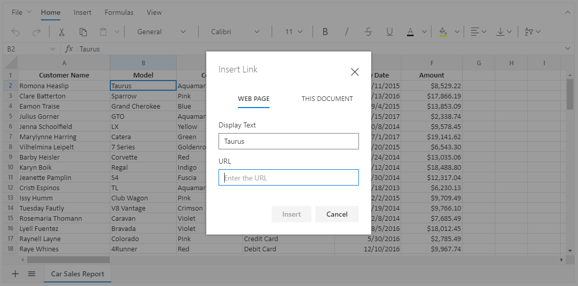 Adding a Hyperlink to a Cell in the Spreadsheet