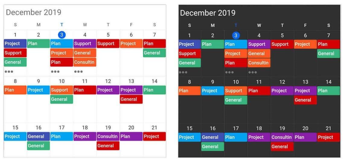 Appearance customization in Calendar widget for Flutter