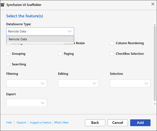 DataGrid feature selection dialog for hosted application