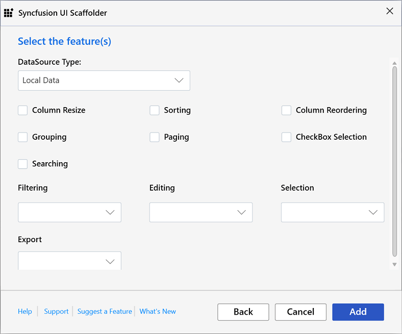 DataGrid feature selection dialog