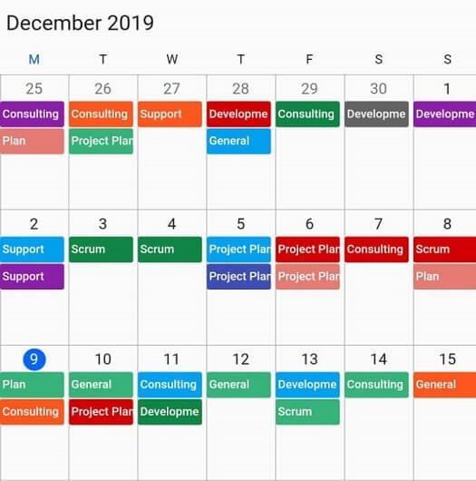 First day of the week in Calendar widget for Flutter