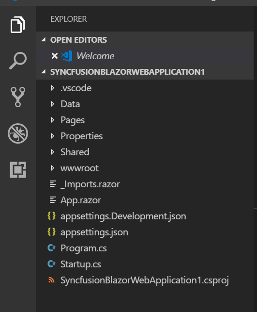 Generated Syncfusion Blazor Application