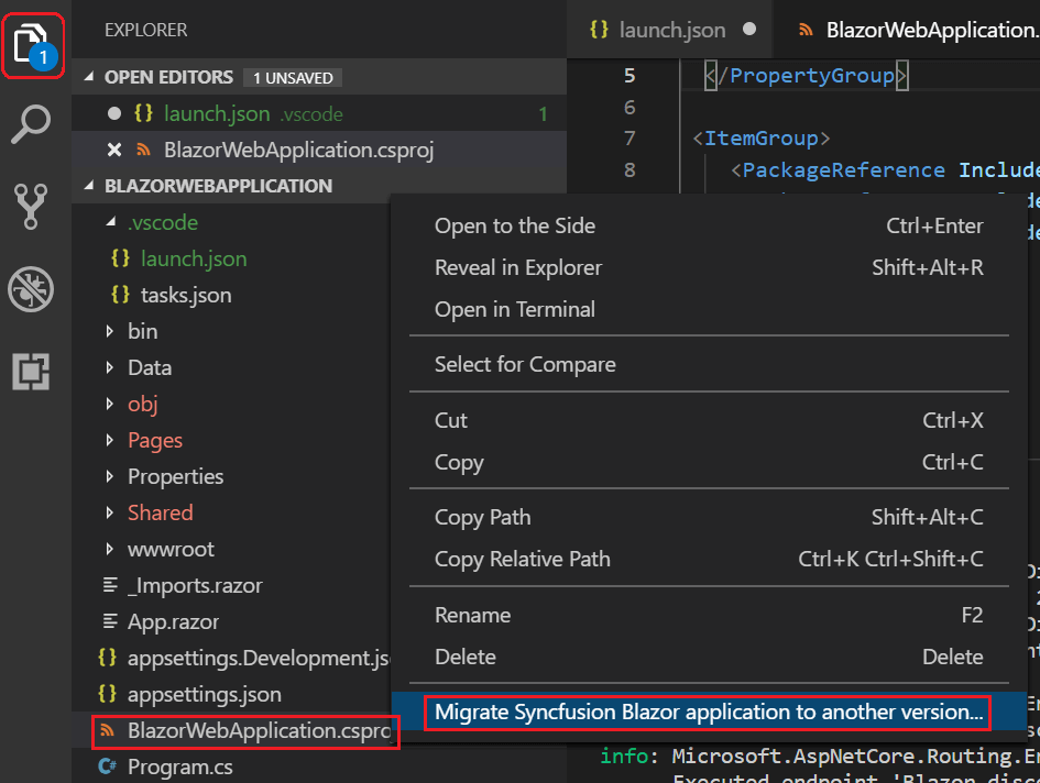 Migration option in Syncfusion Blazor extension for Visual Studio Code