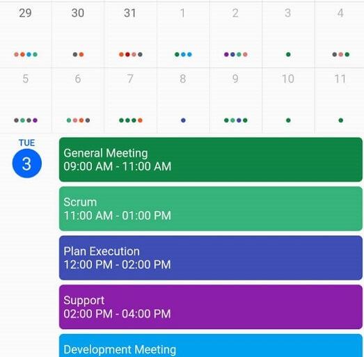 Month agenda view in Calendar widget for Flutter