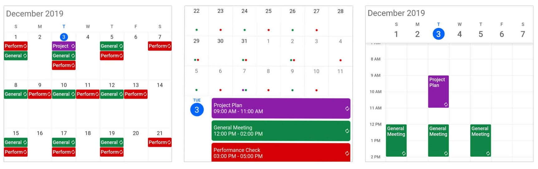 Recurring appointments in Calendar widget for Flutter