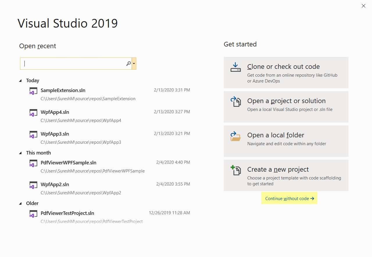 Choosing Continue without code in Visual Studio 2019