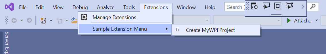 Creating the project using the Extensions menu