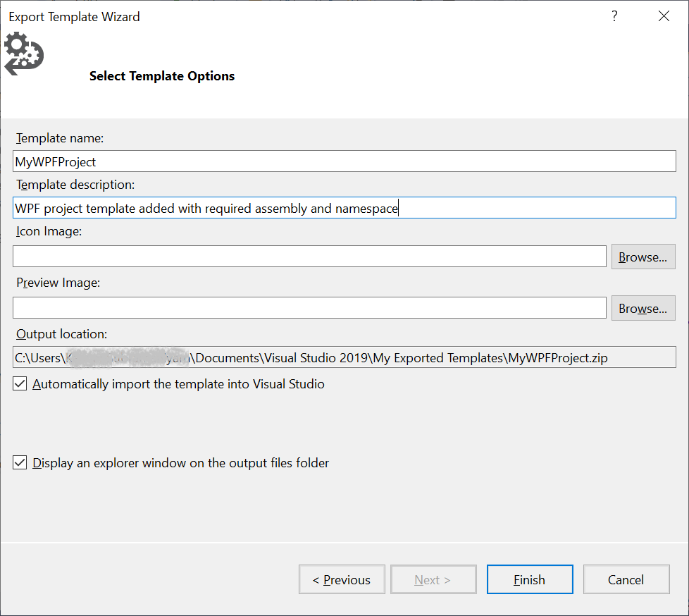 Export Template Wizard - Select Template Options