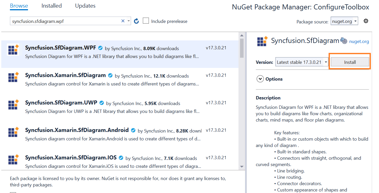 Installing the NuGet package