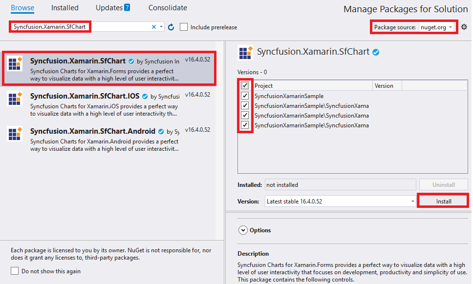 instal sfchart nuget package