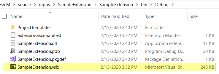 vsix file in the output folder