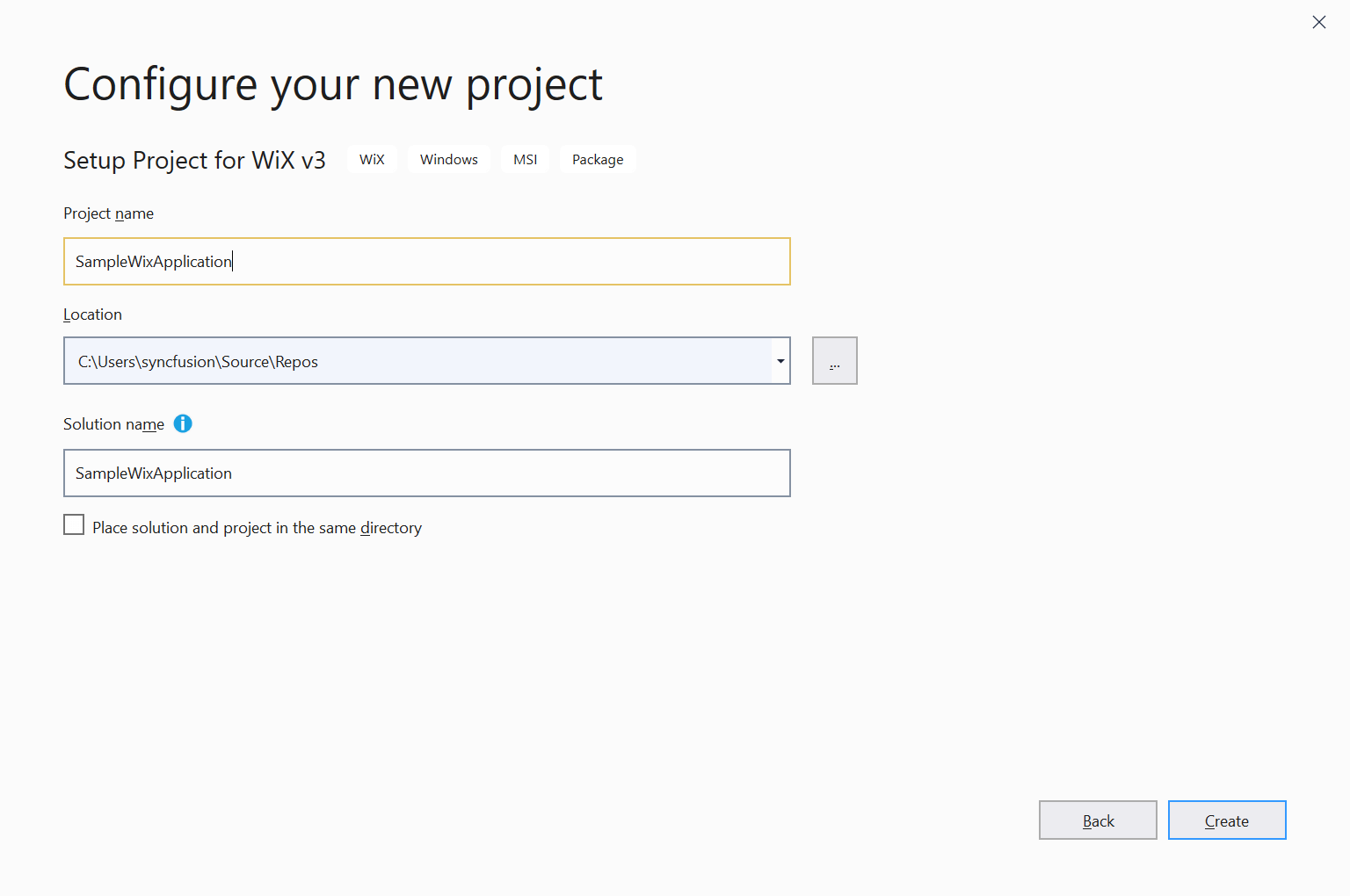 Configure a new project