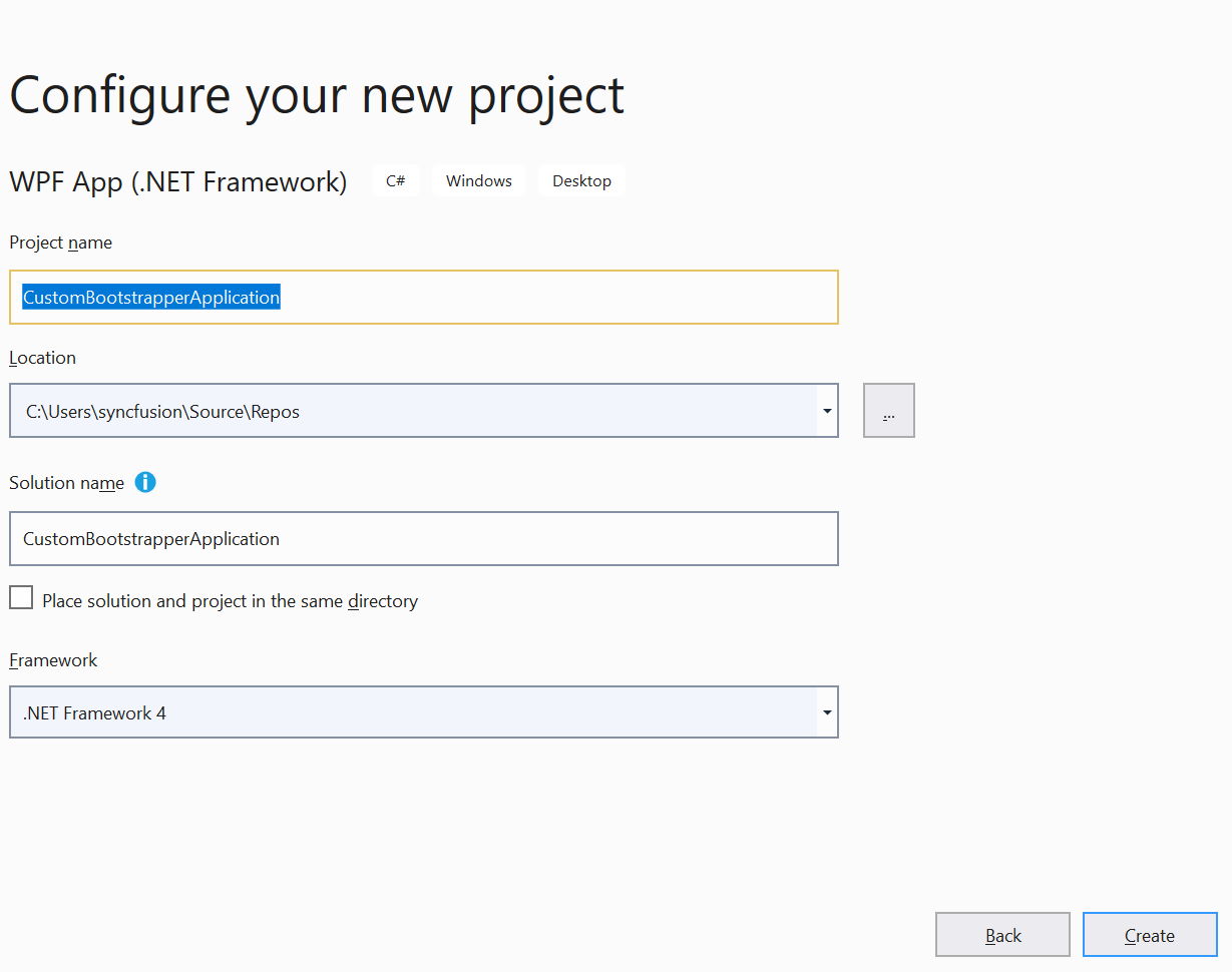 Configure a new project2